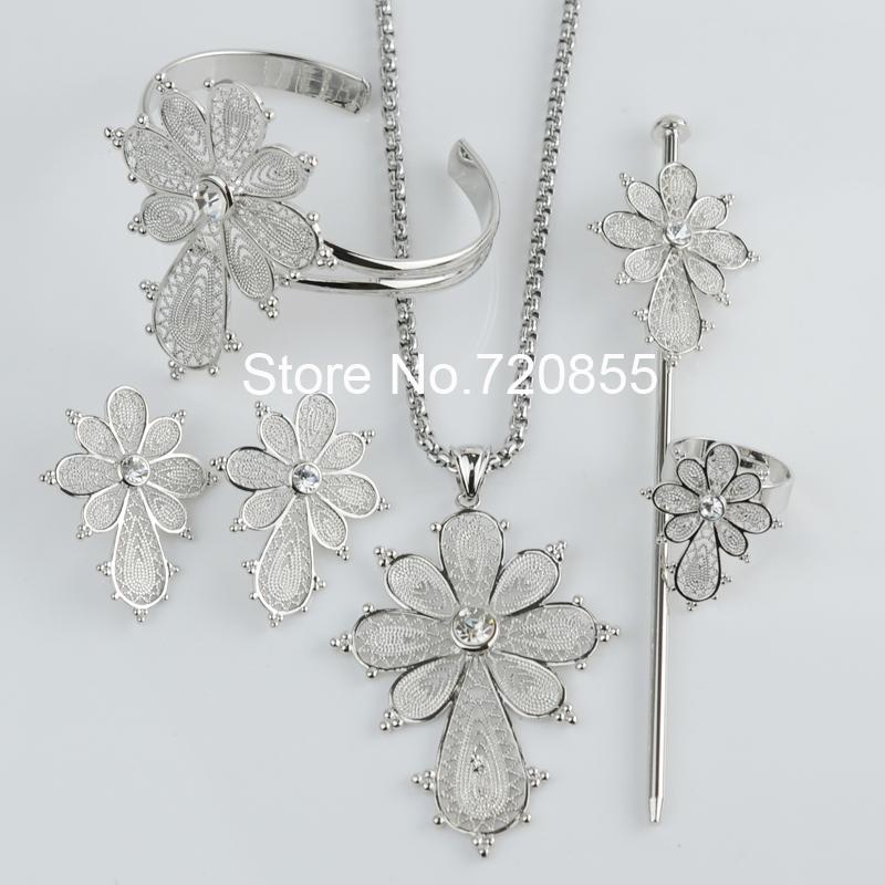 Dark Silver Cross Ethiopian set Jewelry,White Gold Plated Pendant Chain/Earring/Ring/Hair Pin/Bangle African Habesha Wedding set(China (Mainland))