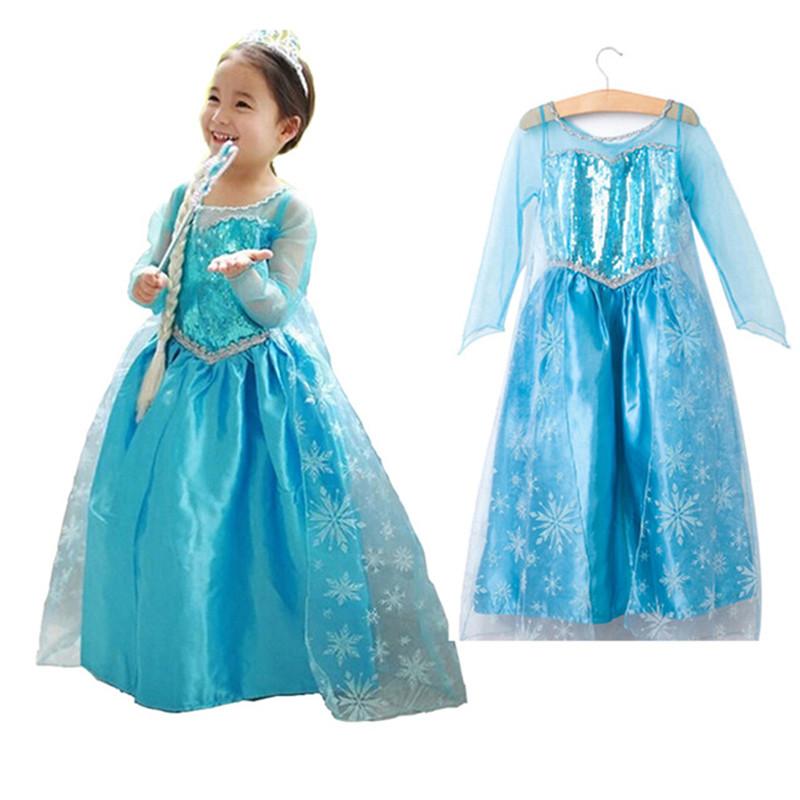 Monkids Girl Dress Anna Elsa Costumes Christmas Girls Dresses Infant Baby Tutu Princess Dresses Children Clothing Snow Queen(China (Mainland))