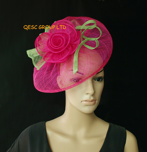 BIG Sinamay Fascinator with diameter 33cm.for party,wedding and kentucky derby.fuchsia,black/white color.(China (Mainland))