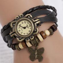 2015 Vintage High Quality Women Butterfly Pendant Bracelet Wristwatch Braided Leather Quartz Dress Watch Women Clock