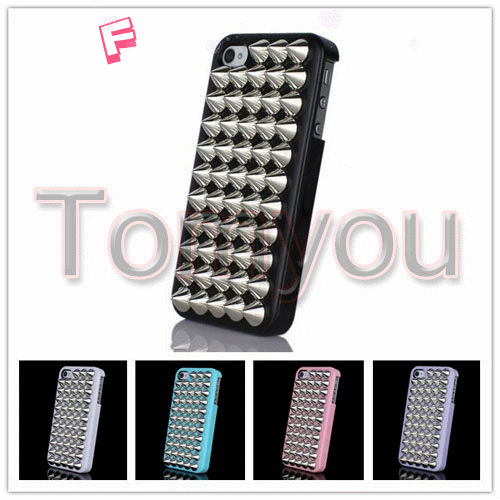 Luxury Smooth Punk Plating Style Cone Stud Nails Tip Taper Case Cover Apple iPhone 4 4S - Terry store