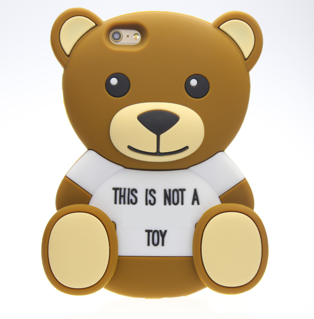 3D Cartoon animals Cute Toy brown teedy bear silicone case For iphone 4s/5 5s/SE/6/6plus s3/s4/s5/s6/J5/Note3/4/E5/7/A5/A7(China (Mainland))
