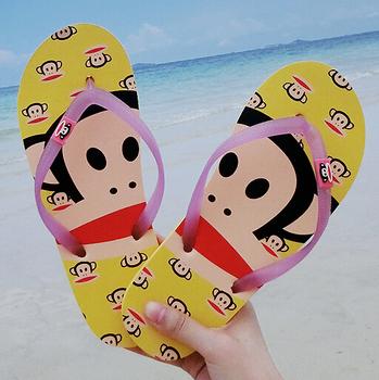Women's Sandals 2015 Summer Beach Flip Flops Lady Slippers New Monkey Print Beach Casual House Slipper Shoes Flat Leisure