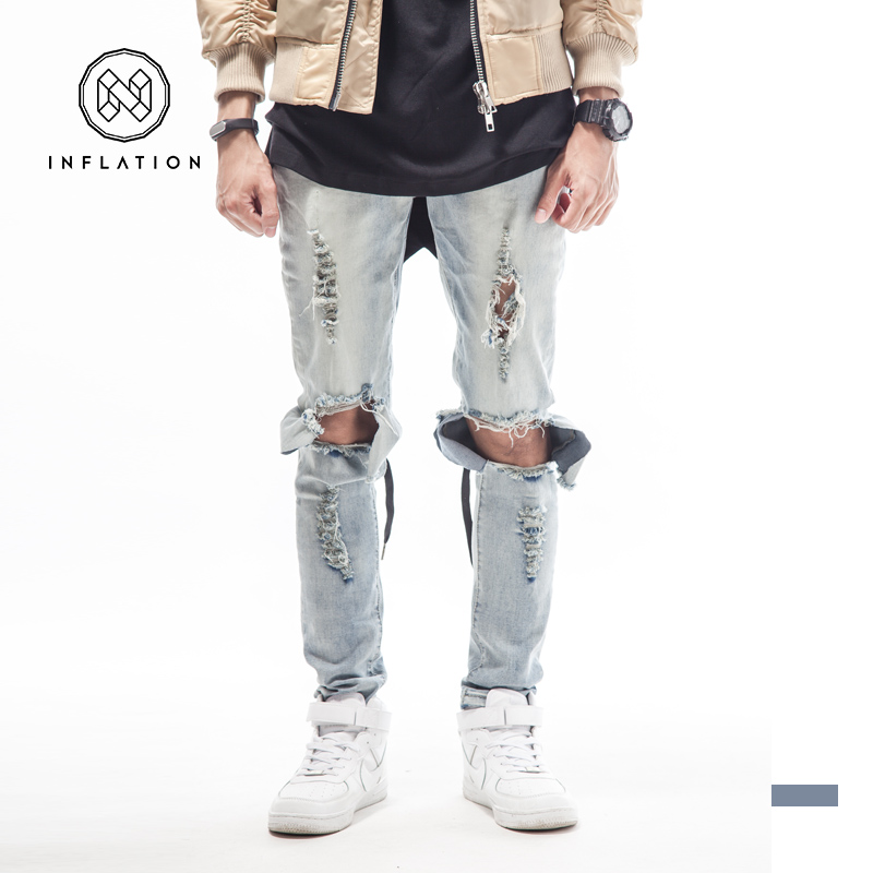 BLUE BLACK high quality mens designer brand jeans big hole ripped destroyed biker 2015 street kanye west tyga style clothes swag(China (Mainland))