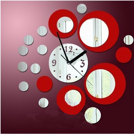 Red rounds wall clock modern design luxury mirror wall clock,3d crystal mirror wall watches michael wall clocks(China (Mainland))