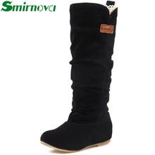 2016 Más Nuevos de Invierno de Lana Señora Nieve, sexy Negro Naranja Marrón Mujeres Botas pisos media pantorrilla zapatos de mujer(China (Mainland))