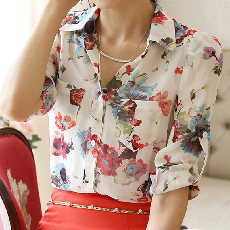 Office Ladies 2015 Summer Half Sleeve Loose Tropical Floral Printed Shirt Women Chiffon Blusas Pocket Tops Casual V-neck Blouse(China (Mainland))