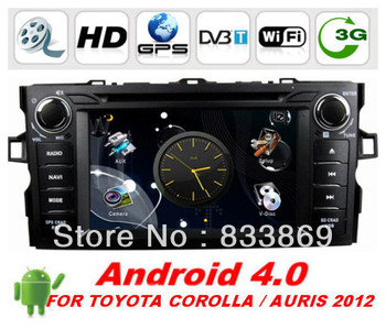 "HD 7 ""Android 4.0 2din Car DVD GPS Navi for TOYOTA Corolla / AURIS 2012 With BT IPOD 3D UI PIP TV Radio/RDS AUX IN 3G/WIFI"