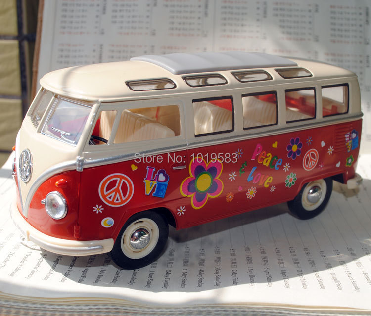 Brand New 1/24 Scale Car Model Toys Flower Pattern Version 1962 Volkswagen Classic Bus Diecast Metal Car Model Toy For Gift/Kids(China (Mainland))