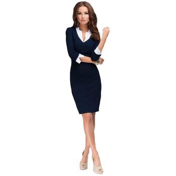 2015 новых женских S-XXL горячая сейчас slim-подходят платье мода элегантность платье лоскутная v-образным вырезом синий рабочая одежда