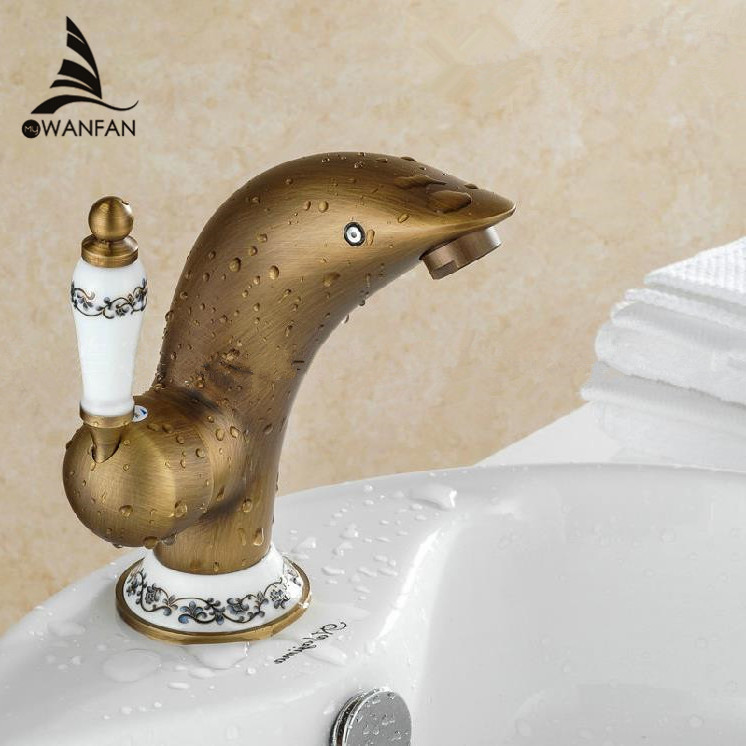 Dolphin basin faucet brass bathroom blue and white porcelain antique faucet bathroom sink tap for White porcelain bathroom faucets
