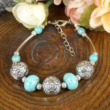 Chinese Style National Trendy Tibetan Jewelry  Handmade Alloy Turquoise Bead Bracelet RuYiSLM032(China (Mainland))