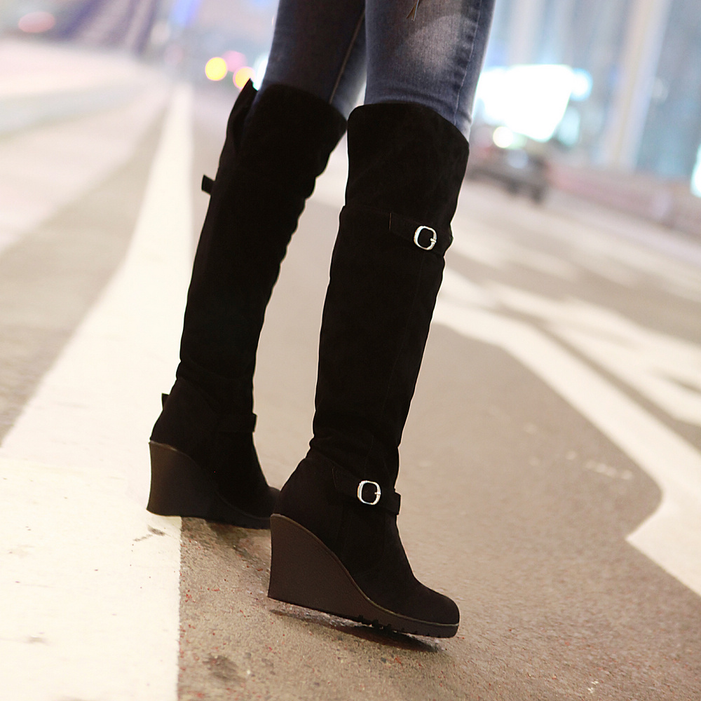 Sexy Buckle Wedges Shoes Over the Knee High Boots 2016 High Heels Platform Shoes Knight Boots Autumn Winter Boots Women Shoes