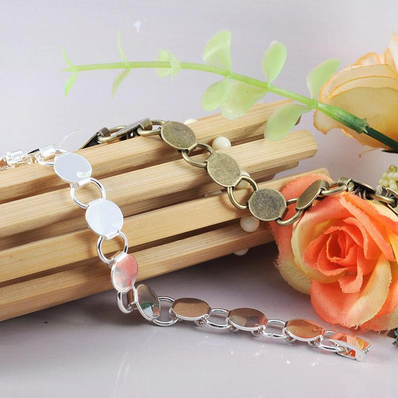 10Pcs Vintage Metal Zinc Alloy Bracelet Base fit 10MM Cameo Cabochon Bracelet  Blanks For Women Jewelry Findings<br><br>Aliexpress
