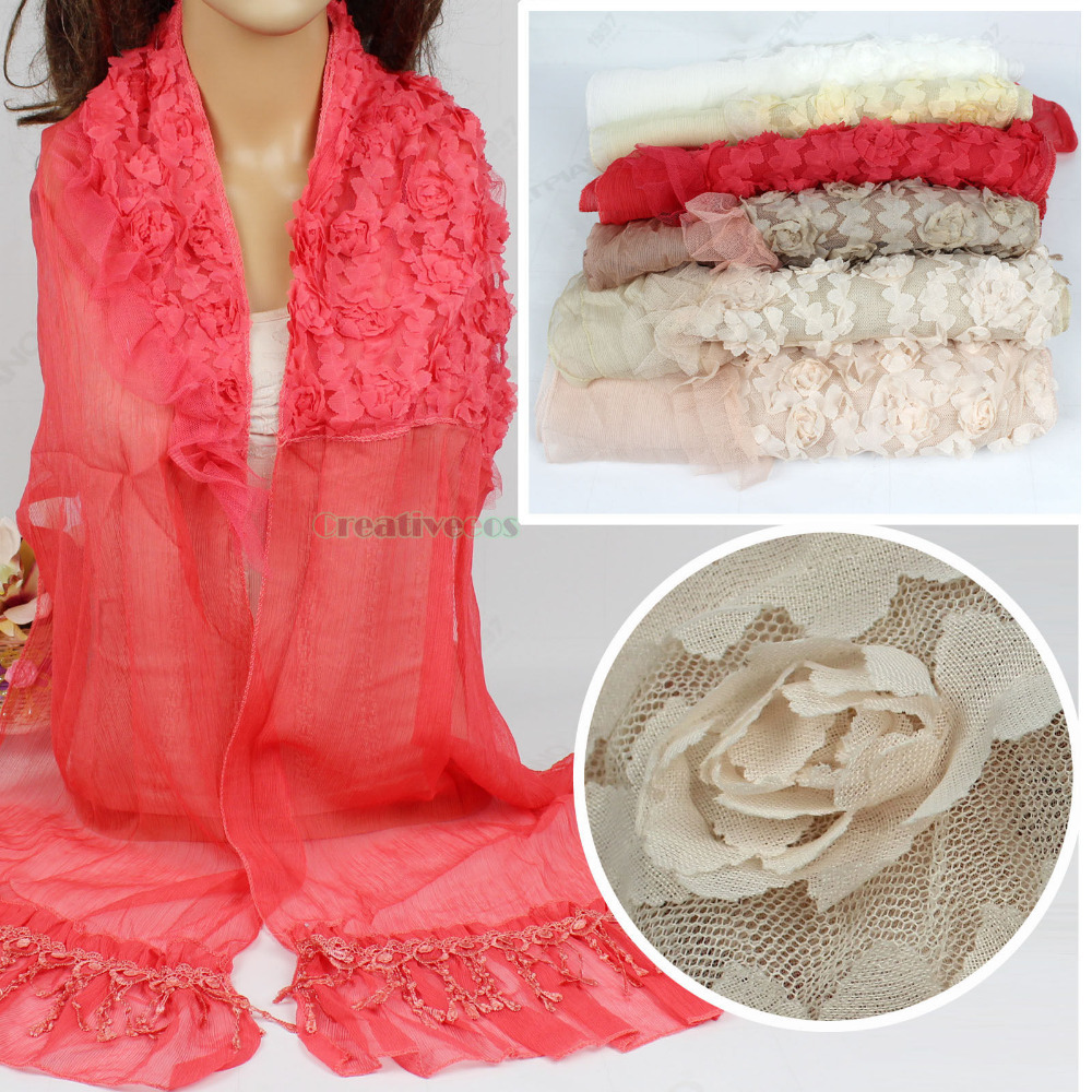 New Stylish Elegant Fashion Women's 3D Flower Chiffon Long Scarf Shawl Wrap Lace Trim Tassel(China (Mainland))
