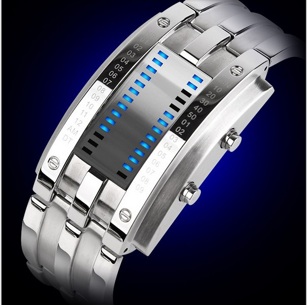 Low Price Waterproof LED Electronic Men Women Stainless Steel Wristwatches Blue Binary led Displayer Luminous Sports Watches(China (Mainland))