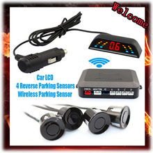 Wireless 2.4 GHz Transmitter Receiver Kit Car LED Parking Sensor with 4 Sensors 7 Colors + Sound Alarm BIBIBI . Easy to install