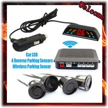 Wireless 2.4 GHz Transmitter Receiver Kit Car LED Parking Sensor with 4 Sensors 7 Colors + Sound Alarm BIBIBI . Easy to install