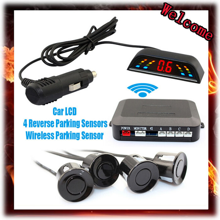 Wireless 2.4 GHz Transmitter Receiver Kit Car LED Parking Sensor with 4 Sensors 7 Colors + Sound Alarm BIBIBI . Easy to install(China (Mainland))