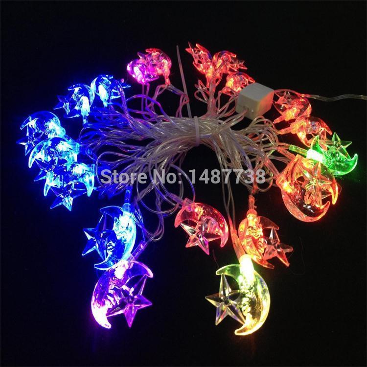 5M 20 LED Christmas Light AC 110V~ 220V RGB Waterproof LED String Light Moon Star for Wedding Holiday Party Decoration(China (Mainland))