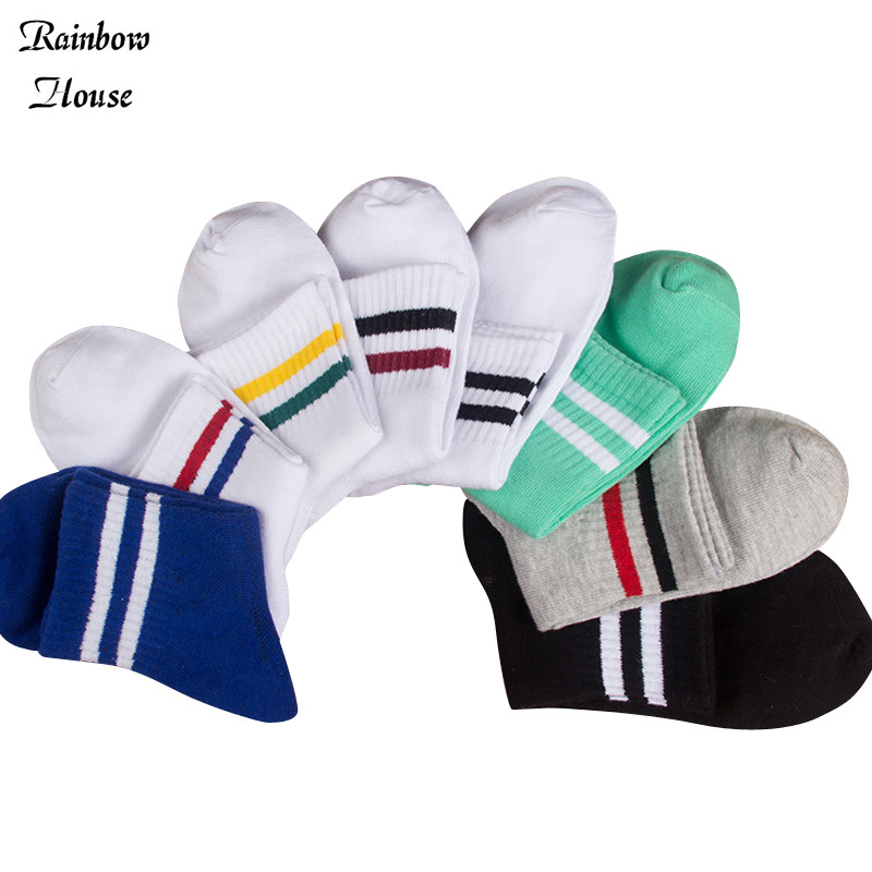 New 2017 In Tube Socks Men Fashion Two Bars Stripe Socks For Men Casual All-Match Cotton Designer Socks Male 10pcs=5pairs/lot(China (Mainland))