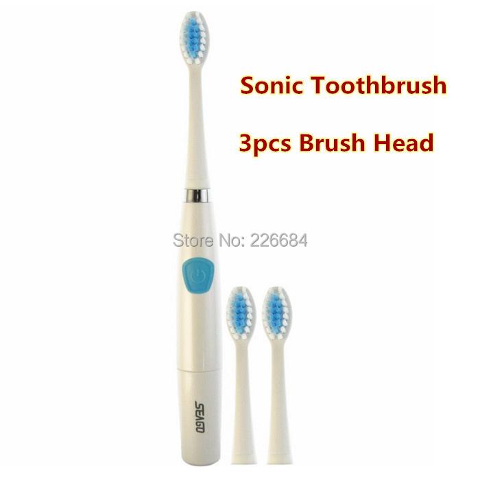 1 pcs SG-612 Seago sonora escova de dentes elétrica inteligente 2 minutos temporizador 3 cabeças de escova de energia da bateria ABS / TBE do cuidado do dente Oral