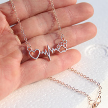 1pcs drop ship Beautifully Animal vintage jewelry love Cats and Dogs Paws and heart Heartbeat necklace Paw necklaces & pendants(China (Mainland))