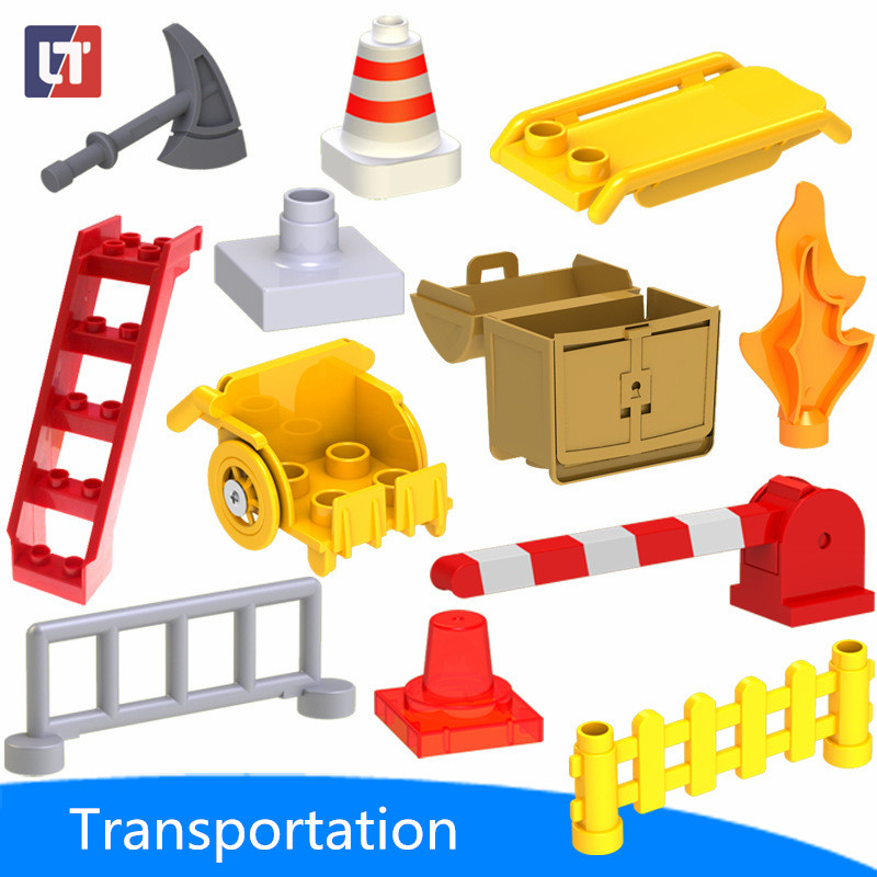 Transportation Blocks Axe/wheelchair Large Particle Building Accessories Enlighten DIY Bulk Kid Toy Compatible With Legoe Duplo(China (Mainland))