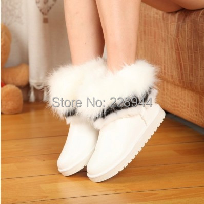 2015 fashion sell like hot cakes imitation fox fur snow boots round toe flat winter short boots warm shoes free shipping(China (Mainland))