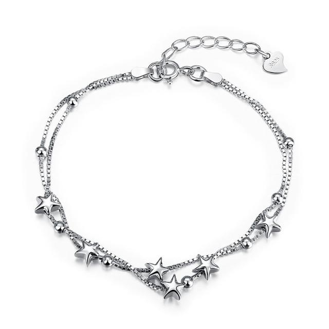 Новый горячие продаж в исходном стерлингового серебра серебристо-ювелирные мерцающие звезды шарм браслеты , совместимой с DIY ювелирных