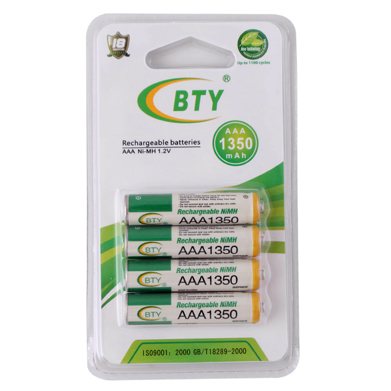 High Quanlity 4 x BTY 1 2V 1350mAh AAA Ni MH Rechargeable Battery ECOS 48637