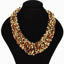 Chunky Bohemian Multiayer Cluster Weave Wood Beads Choker Necklace Collar Bib Statement Necklaces Pendants Wholesale(China (Mainland))
