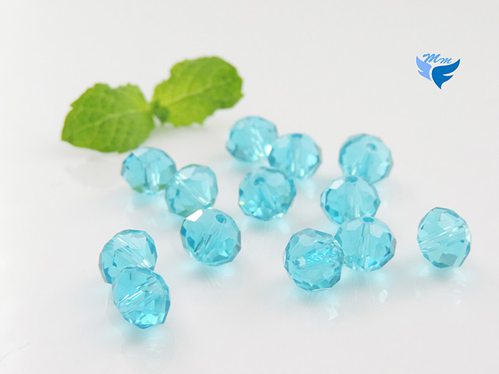 Wholesale news 10mm100pcs/bag faceted rondelle acid blue crystal glass beads china handmade bead for curtain decoration(China (Mainland))