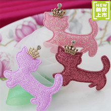 Wholesale DIY Hair Jewelry Garment Brooch Decoration Material 50PCS Glitter Christmas Crown Cat Animal Button Patch Stickers
