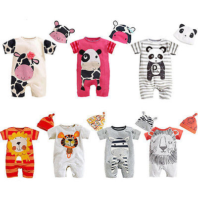 Lovely Baby Romper Cow Playsuit Jumpsuit+hats Baby Boy Girl Newborn Girls Clothes Costume Set New Born(China (Mainland))