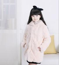 Children beaver rabbit fur coat MAO girls new children's wear real long hat thickening winter - MH b Store store