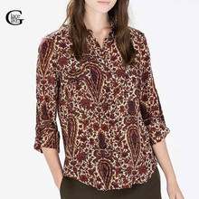 Buy Lace Girl New Retro Women Paisley Cashew Print Blouse Turn-down Collar Long Sleeve OL Shirts Casual Slim Women Blouses Tops for $10.42 in AliExpress store