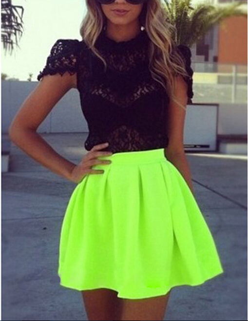New women's fashion sexy Pleated fluorescent color vintage Empire skirts mini skirts Free shipping(China (Mainland))