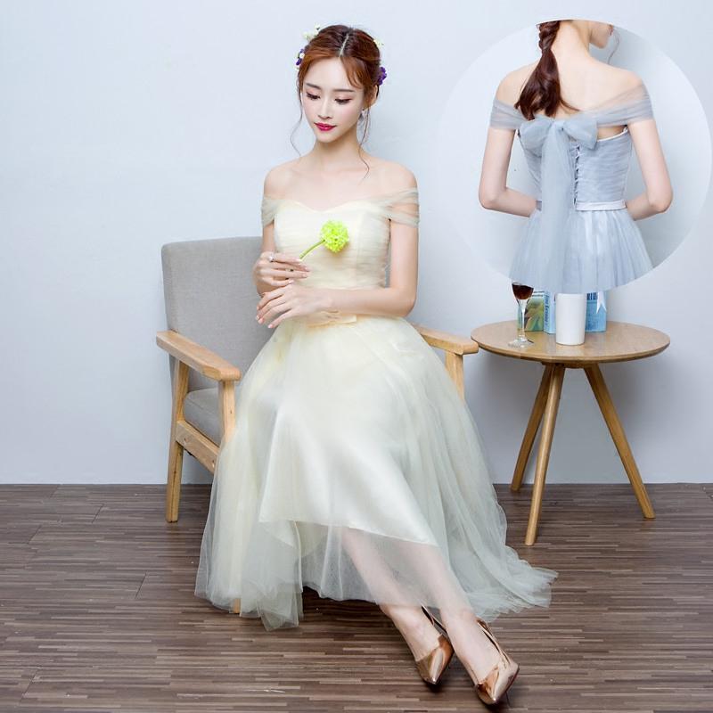Gris demoiselle d 39 honneur robe achetez des lots petit for Plus la taille des robes de mariage formel