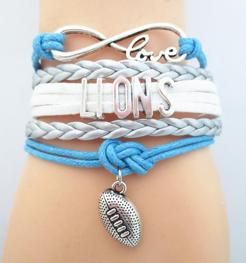 Infinity Love Detroit State Lions Football Team NFL Bracelet silver blue white Customize Sport friendship Bracelets B09089(China (Mainland))