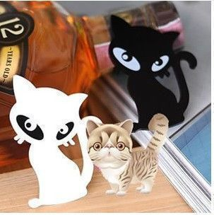 Min.order is $10(mix order)Freeshipping/Fashion black and white acrylic cat brooch BP025