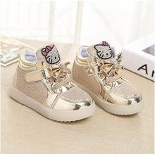 Girls shoes Fashion Sneakers 2016  Spring  Brand Led Kids Girls Princess Shoes Sneakers Children Shoes With Light Size 21-30(China (Mainland))