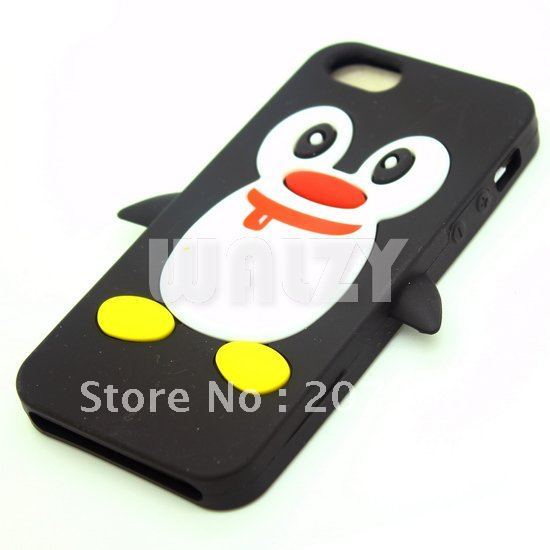 Hot Sale 11 Colors Penguin Soft Silicon Back Cover Cell Phone Case for  iphone 5 50pcs/lot