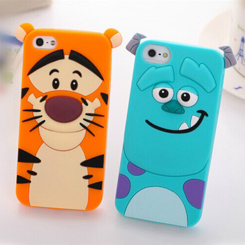 For iphone 6 Plus,3D Cute Cartoon Tiger With Bow TPU Silicone Soft Case Back Cover For Apple iphone6 Plus Mobile Phone Case Bags(China (Mainland))