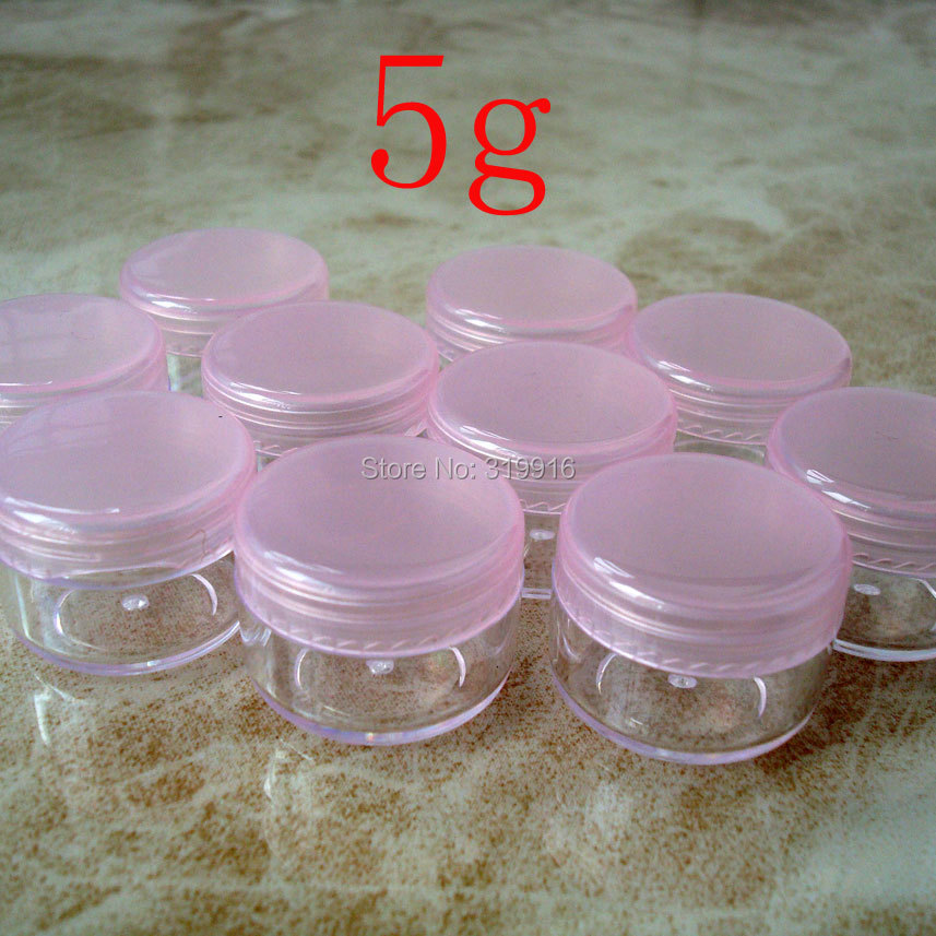 Free shipping ,100pc/lot 5g pink color round small plastic bottle jars containers with lids for cosmetic packaging,cream jar(China (Mainland))