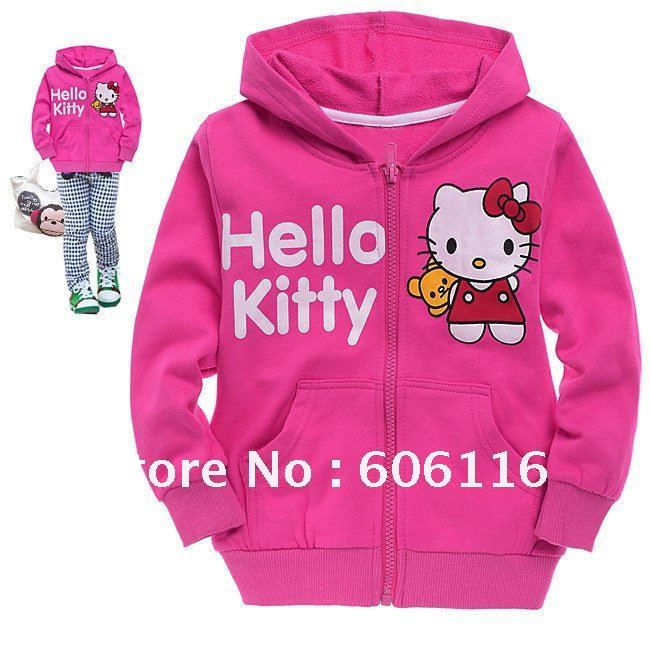 Free shipment (6pcs/lot) Children 100% cotton hello kitty hoody for Autaumn and Spring pink and dark pink C628C6028(China (Mainland))