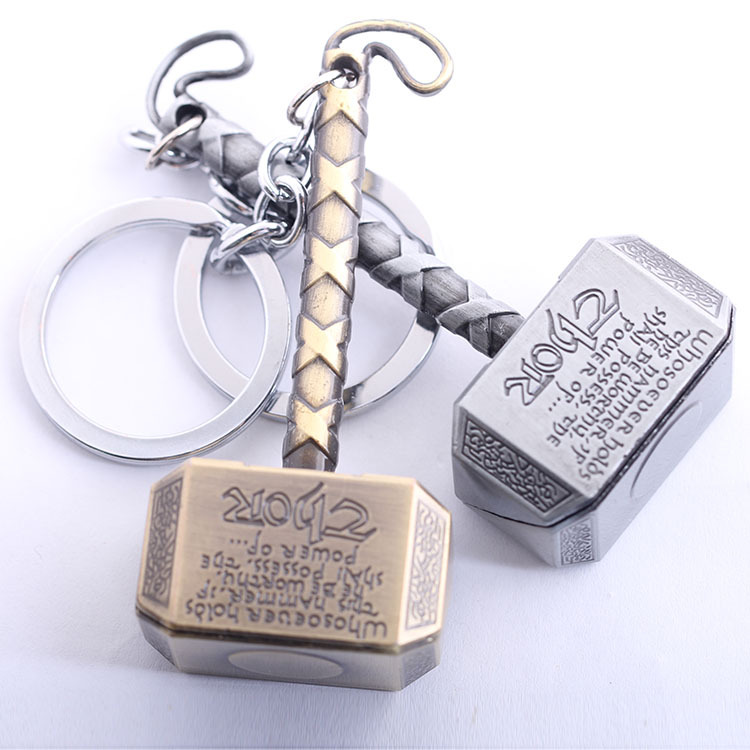 Free Shipping 5pcs/lot Thor Hammer Keychain The Avengers Mjolnir Figure Pendant Metal Key Chains Movie Keychains Accesssory(China (Mainland))