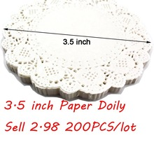 "200PCS 3.5""(8.8cm) White Vintage Coasters Round Lace Paper Doily/Placemats For Table Decoration(China (Mainland))"
