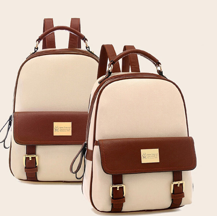 Fashion women backpack patchwork bear girl student school bags pu leather travel rucksack - Fortune International (HK store Limited)