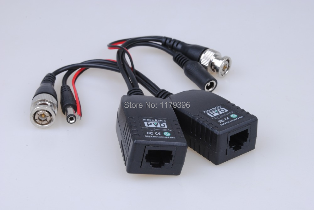 1 Pair BNC to RJ45 CAT5 Video + Data + Power Balun Connector CCTV PTZ Camera /K1 Free Shipping(China (Mainland))